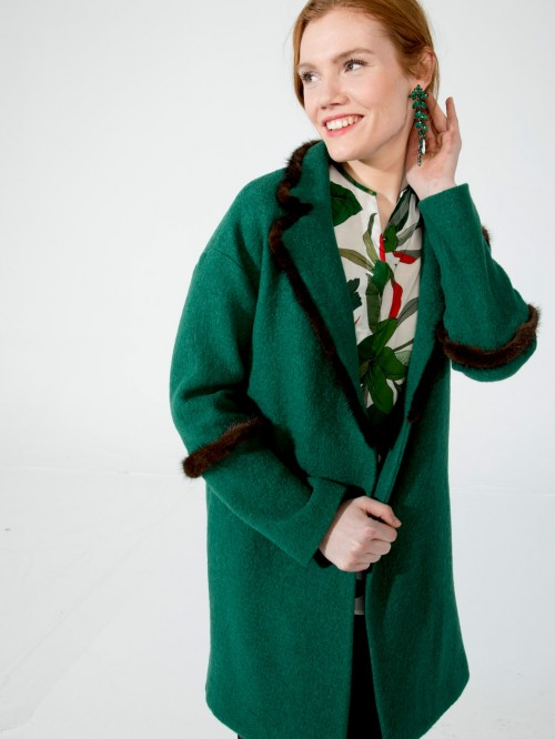 ANNIE COAT IN GREEN LANA COTTA