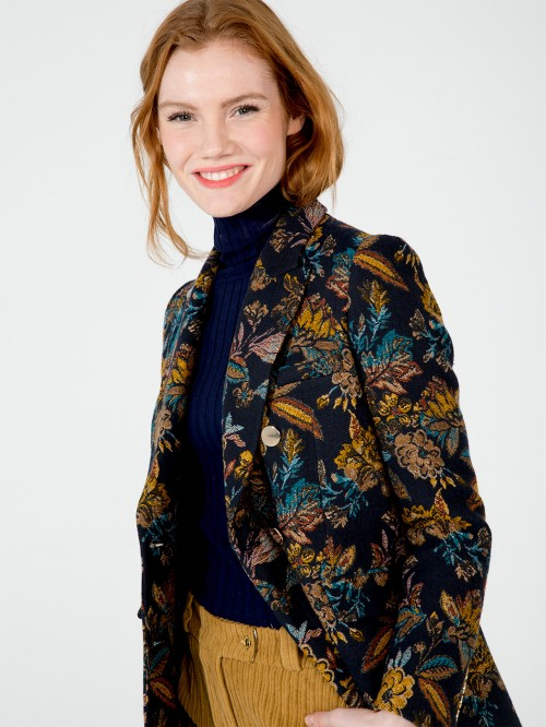 TIFFANY BLAZER IN NAVY BOTANIC JACQUARD