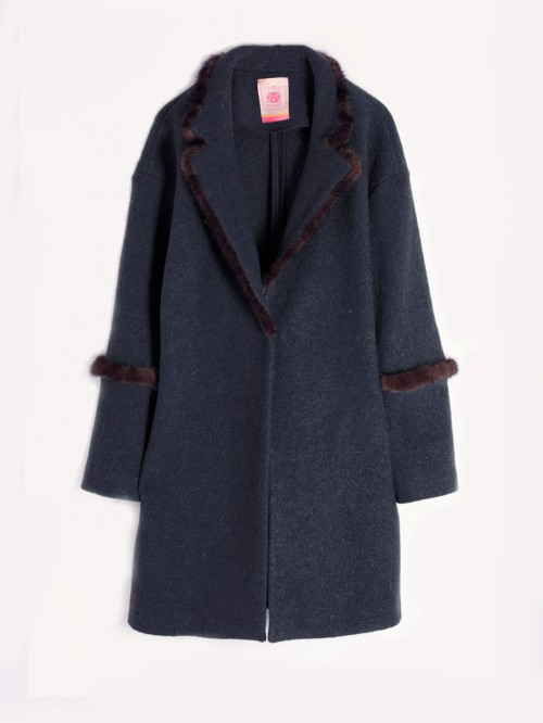 ANNIE COAT IN NAVY LANA COTTA