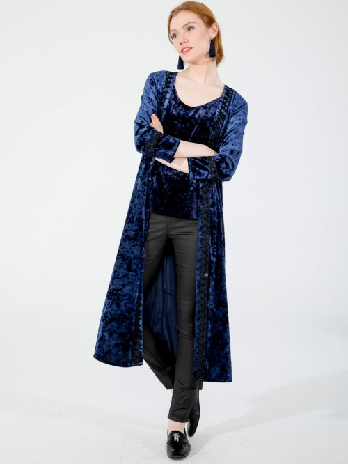 SIENNA COAT IN NAVY VELVET N