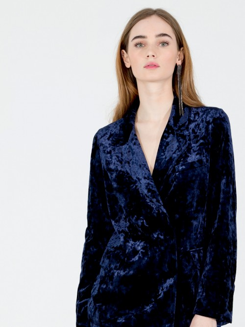 TIFFANY BLAZER IN NAVY VELVET N