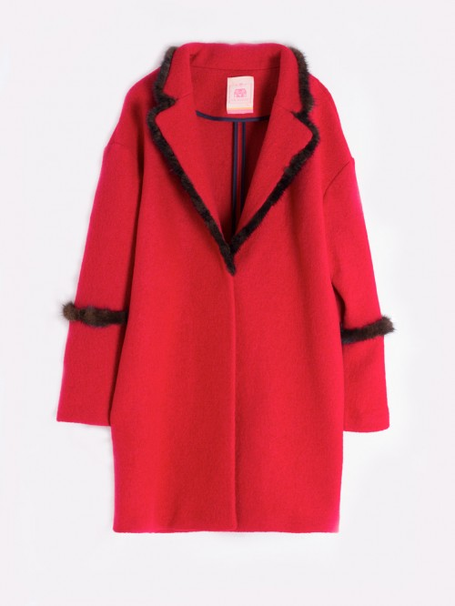 ANNIE COAT IN RED LANA COTTA