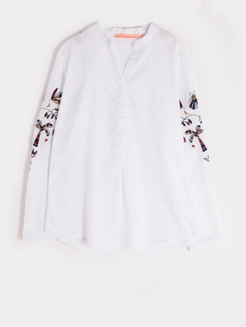 CAMISA BORDADA WHITE NAVY CONFETTI