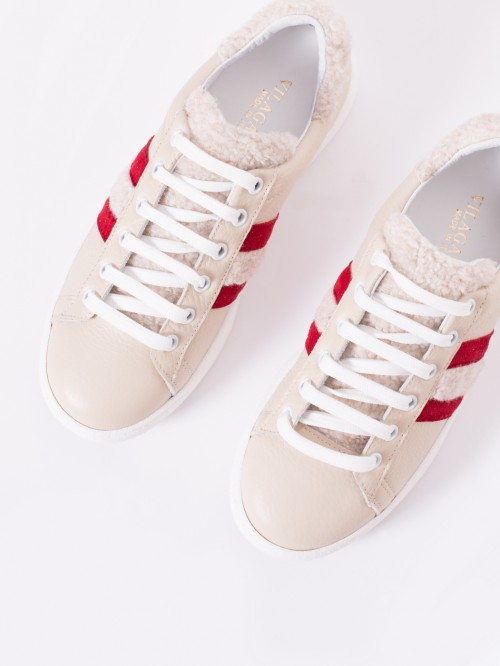 LUCCA SNEAKERS BEIGE RED