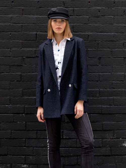 LEANDRA JACKET IN NAVY SILVER