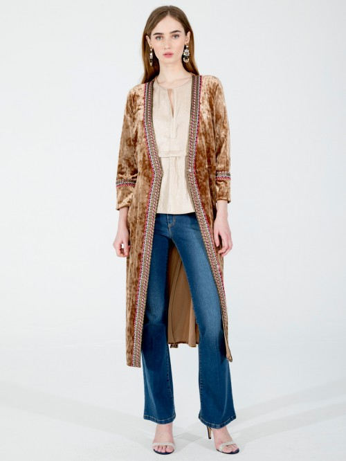 SIENNA COAT IN CAMEL VELVET I