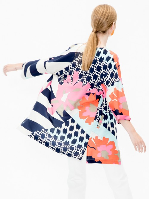 IRENE COAT IN GARDA SILK PRINT