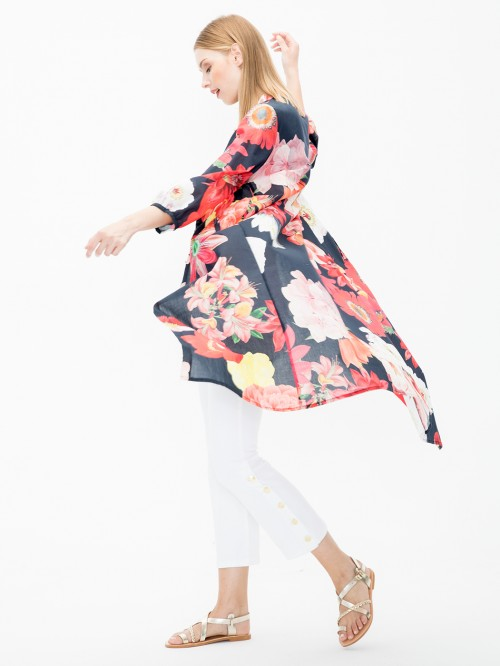 ELIANE COAT IN DELF PRINT