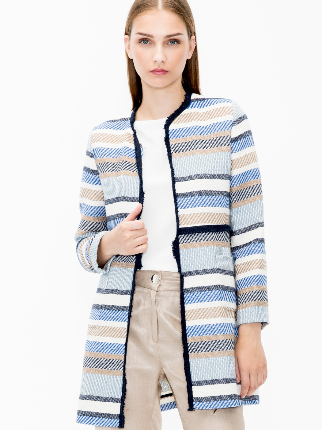 ABRIGO MEGAN BLUE CAMEL STRIPE JC