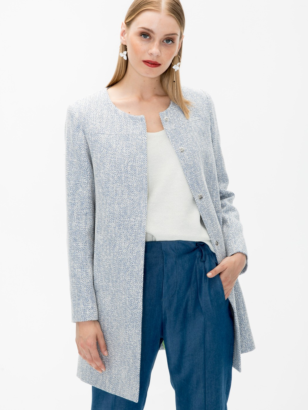 SOFIA COAT IN BLUE SILVER MADELAIN