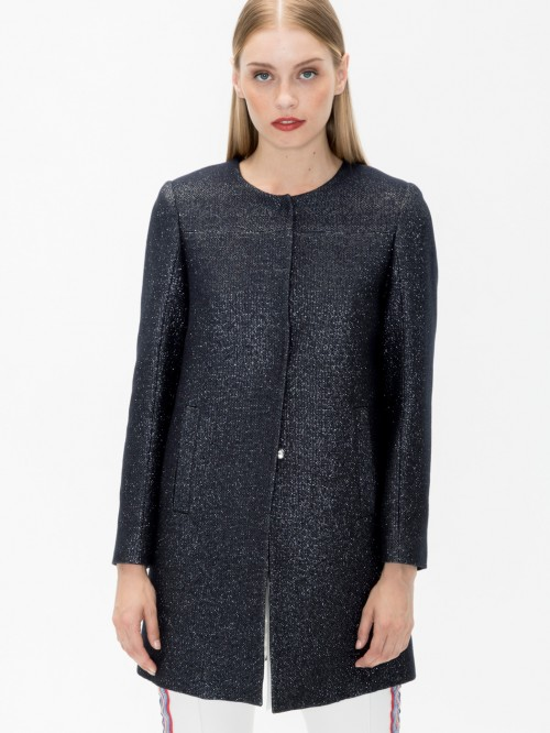 SOFIA COAT IN SILVER NAVY