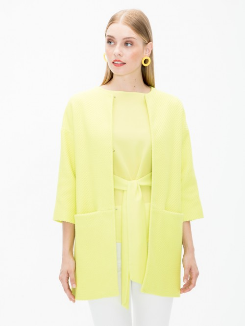 SARAH COAT IN LIME SPRING COTTON