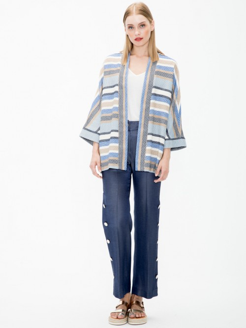 RUBI JACKET IN BLUE CLAMEL STRIPE JC