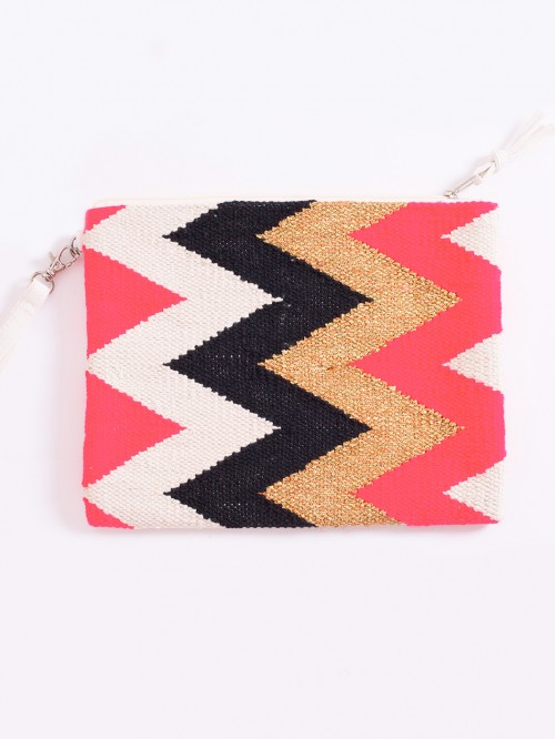 JAMILA BAG IN ZIG ZAG PINK/GOLD