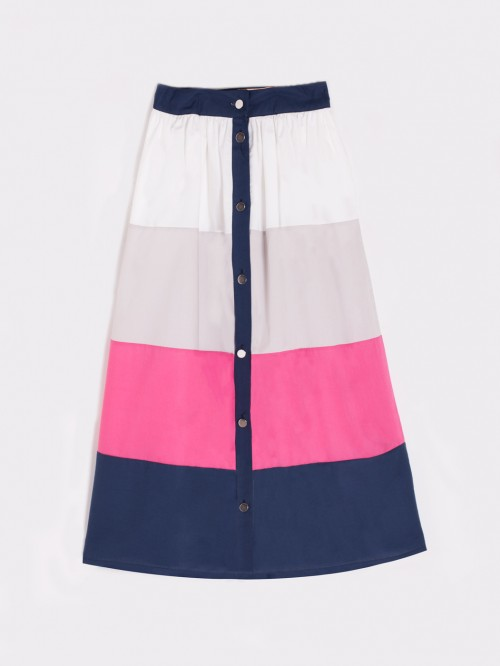 FIONA SKIRT IN NAVY POPELIN