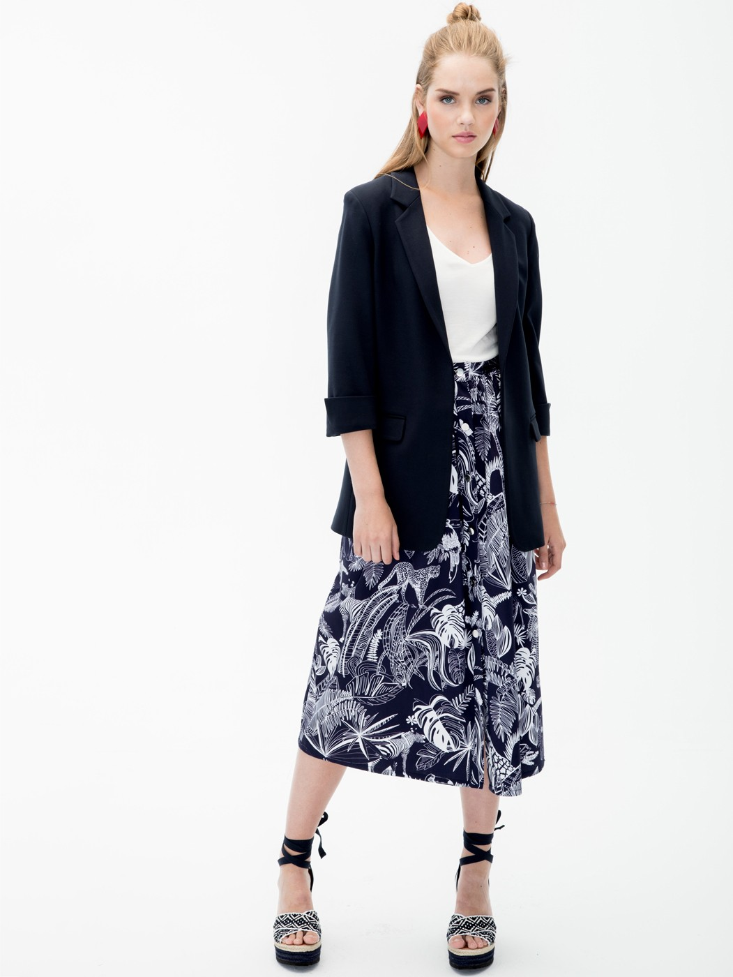 FALDA MARGOT BWINDI NAVY PRINT