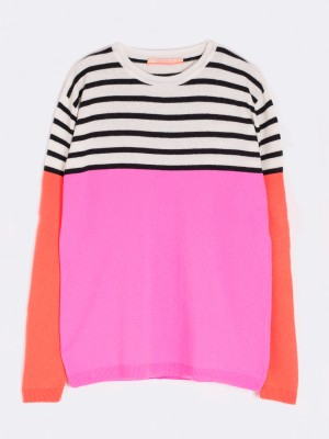 VICTORIA KNITWEAR IN PINK-ORANGE FLUOR