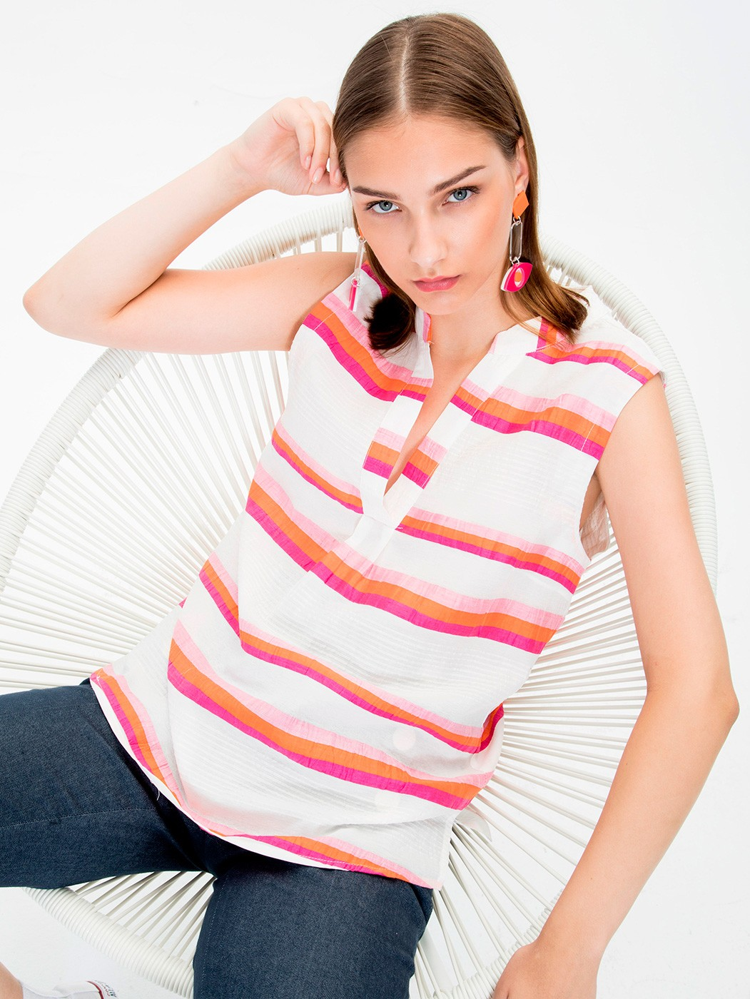 CAMISA ORANGE PINK STRIPE