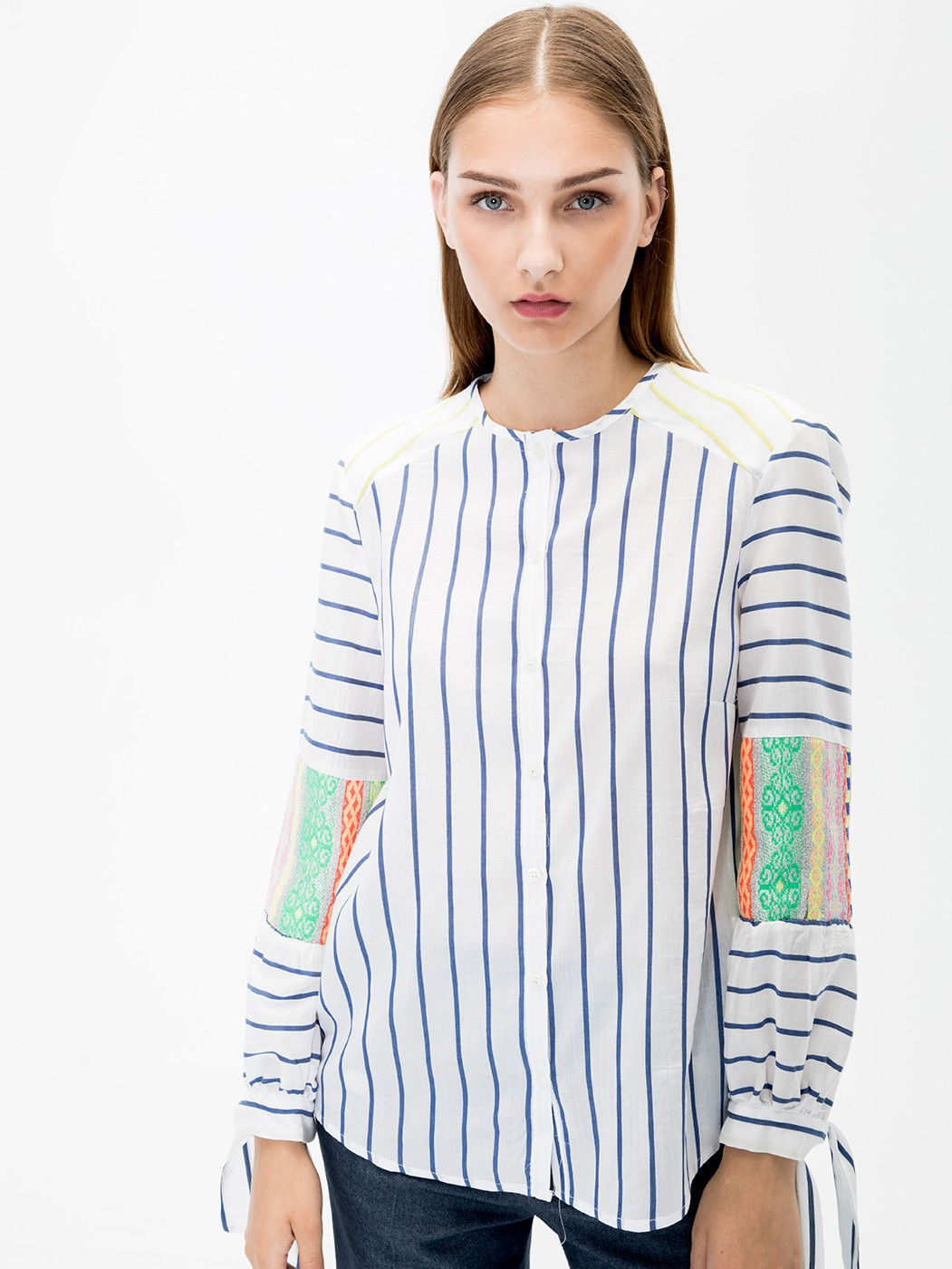 CAMISA HELEN LIME BLUE STRIPES