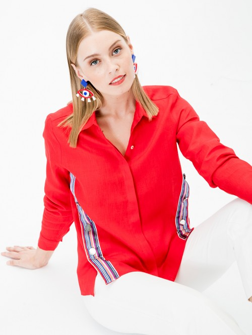 MARTINA SHIRT RED LINEN