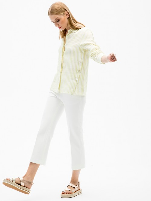 MARTINA SHIRT LIME STRIPE LINEN