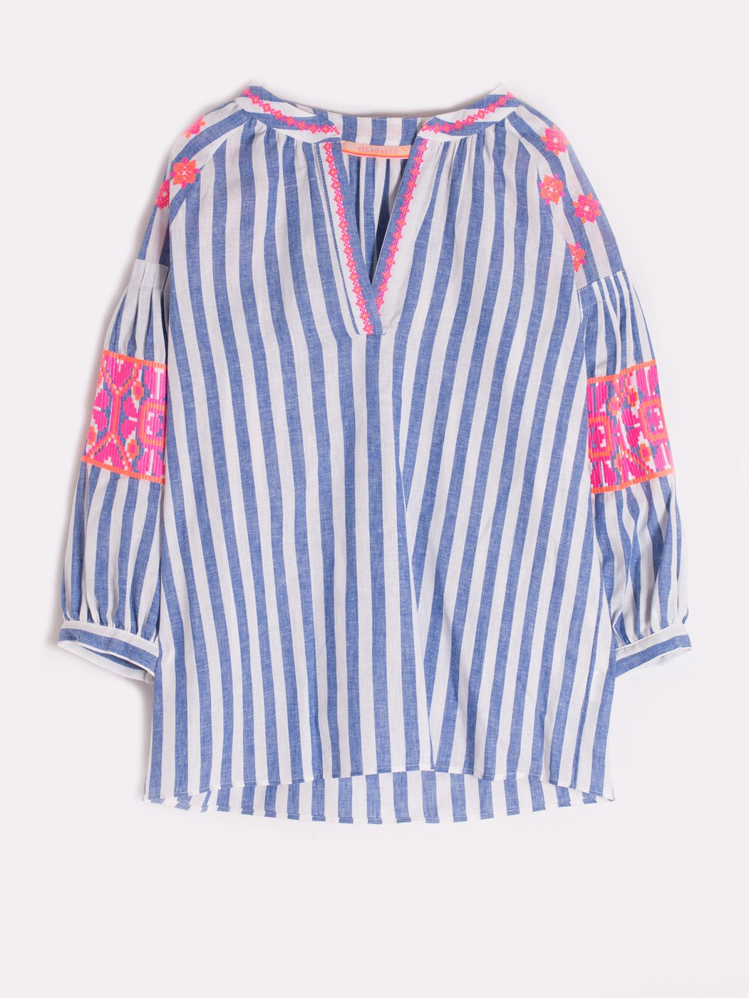 599b04e408a NICOLA EMBROIDERED SHIRT OCEAN STRIPE