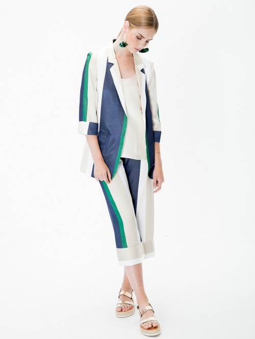 LEANDRA TROUSERS GREEN STRIPES HR