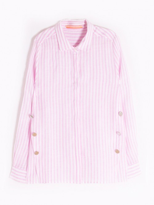 MARTINA SHIRT PINK STRIPE LINEN