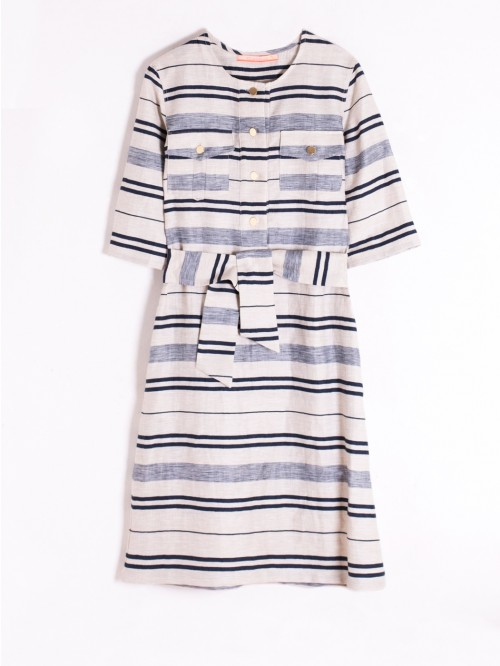 SABINE DRESS NAVY LIN/COT