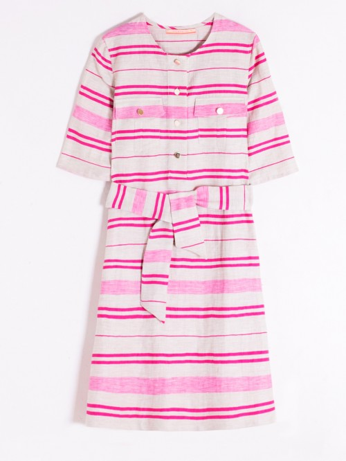 SABINE DRESS PINK LIN/COT
