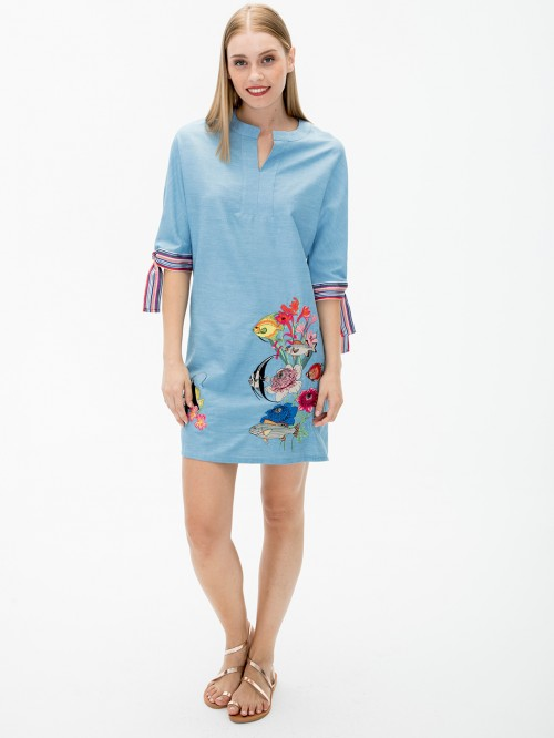 ANABELLA EMBROIDERED DRESS LIGHT JEANS I