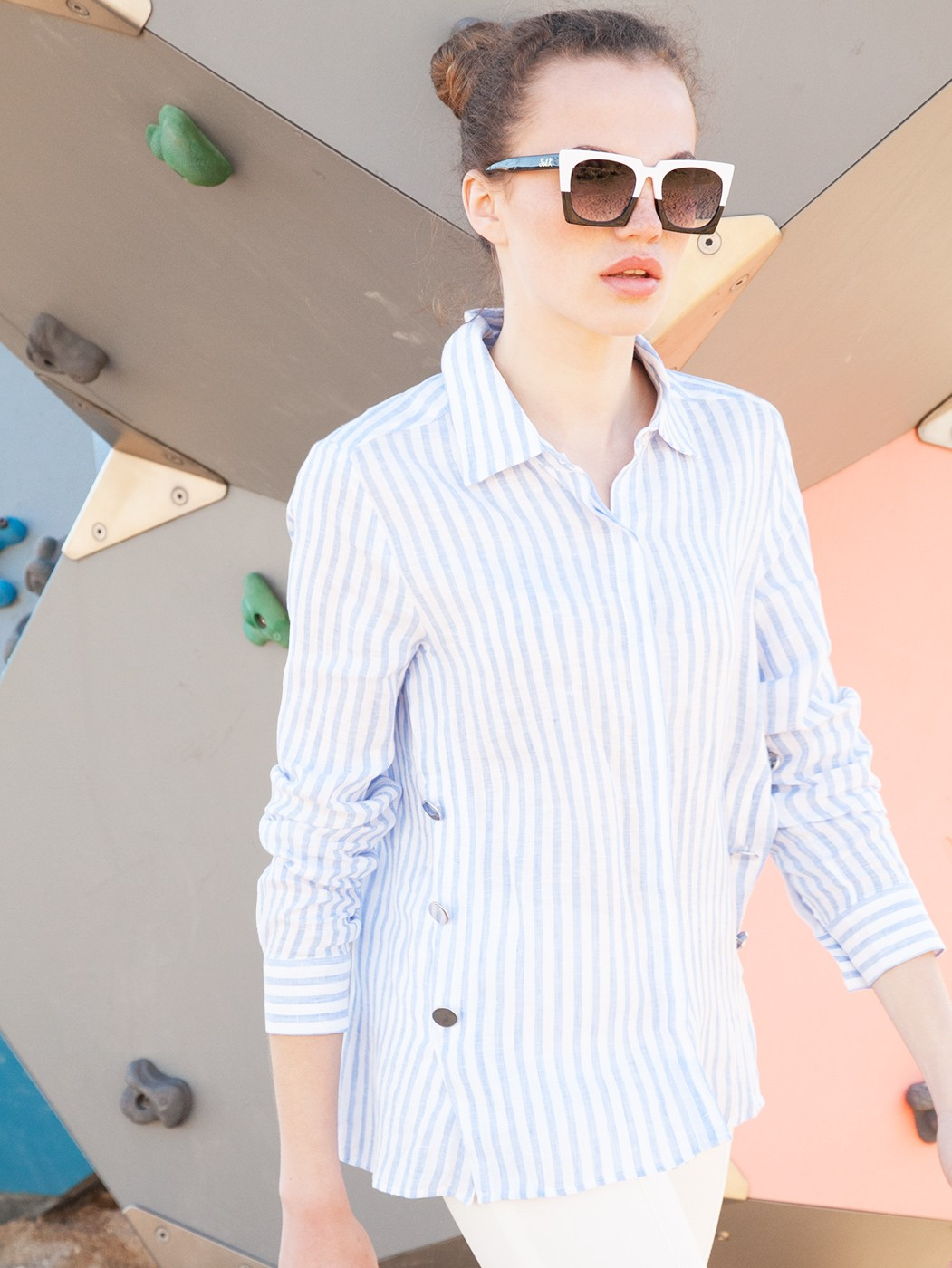 CAMISA MARTINA LINEN BLUE STRIPE