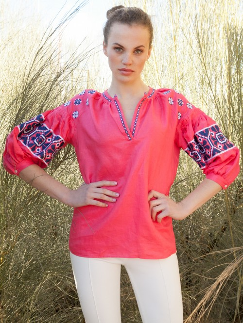 NICOLA EMBROIDERED SHIRT STRAWBERRY PINK LINEN