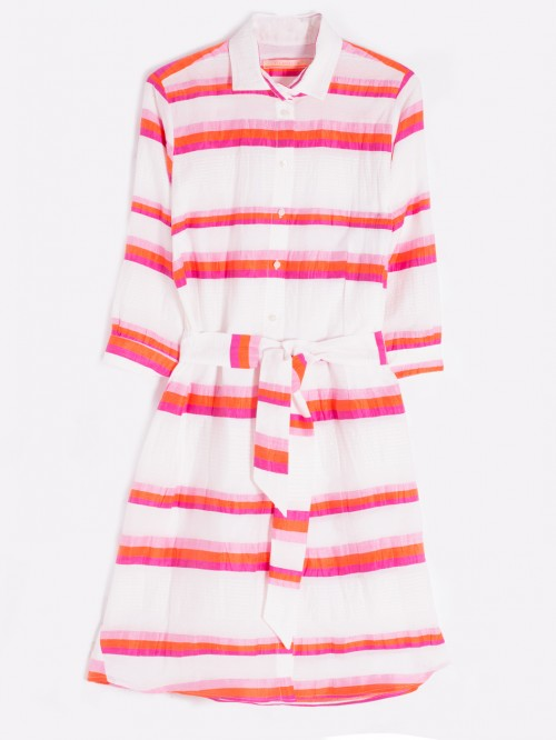 VESTIDO PORTOFINO ORANGE PINK STRIPE
