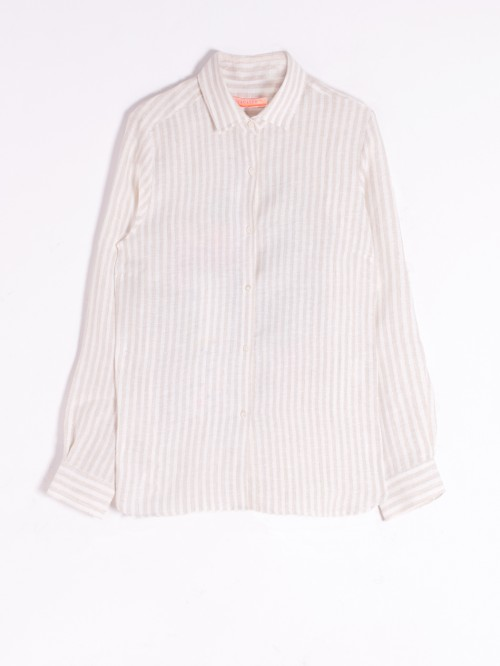 EMBROIDERED DOVER SHIRT COCKTAIL CAMEL SILVER LINEN