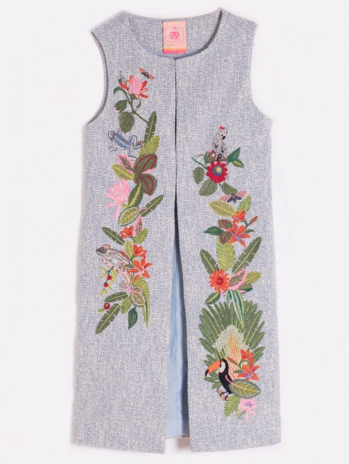 EMBROIDERED MARCIA WAISTCOAT BLUE SILVER MADELAIN
