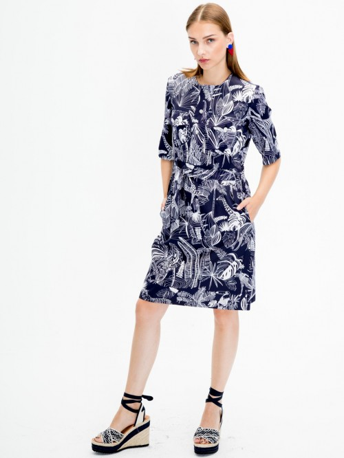 SABINE DRESS BWINDI NAVY PRINT