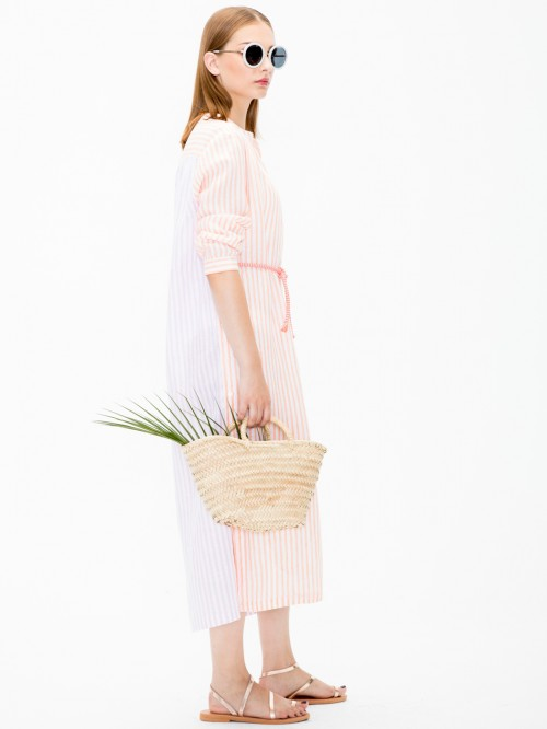 VESTIDO ANETT ORANGE LINEN STRIPE