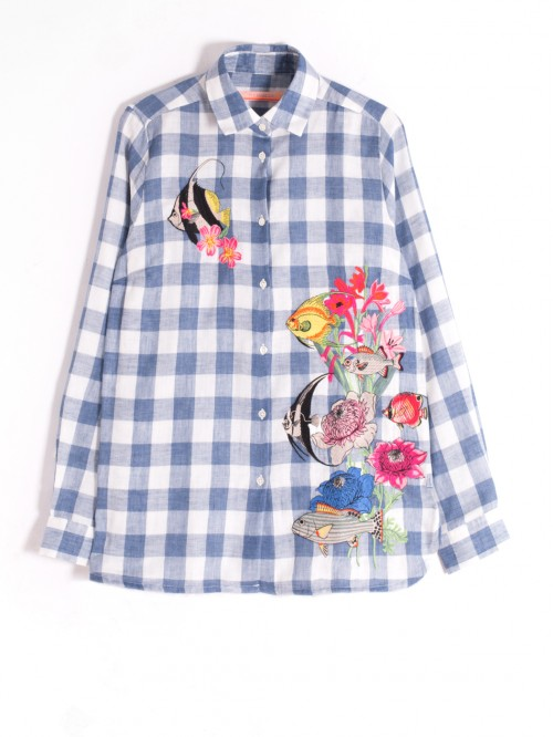 DOVER EMBROIDERED SHIRT BLUE CDRO