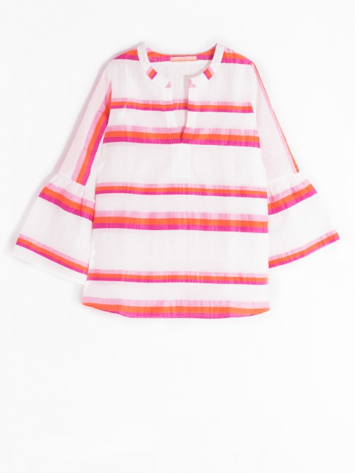 TANA SHIRT ORANGE PINK STRIPE