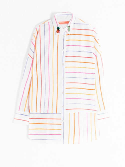 MILLER EMBROIDERED SHIRT RAINBOW WH