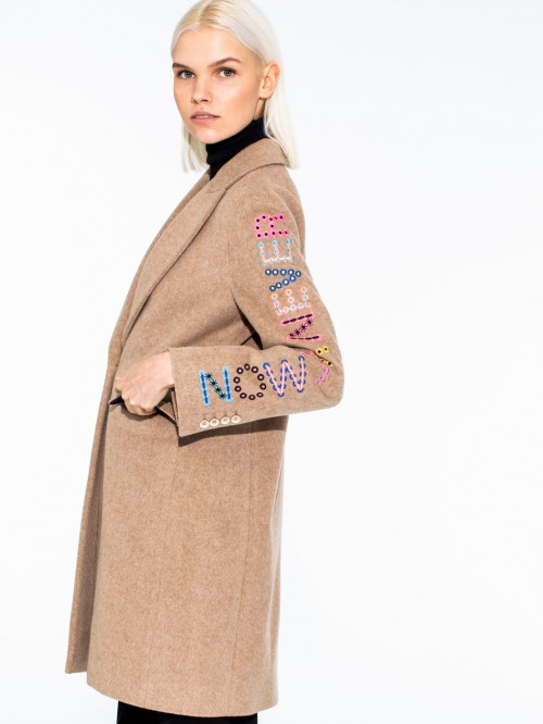 ARICIA EMBROIDERED COAT CAMEL