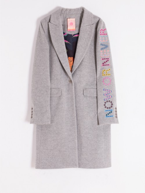 ARICIA EMBROIDERED COAT GREY MELANGE