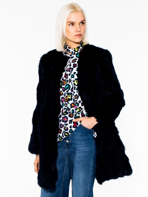 RACHELE FUR COAT ALL BLUE LAPIN/REX