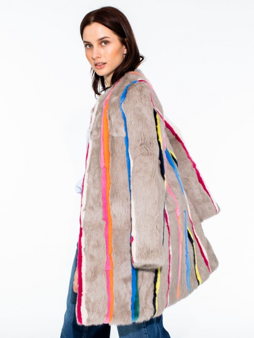 ELEONORA FUR COAT RAINBOW STRIPES