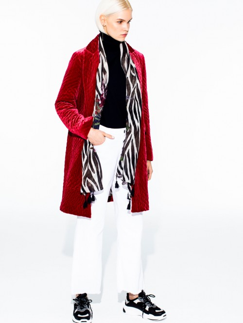 ARICIA COAT CHERRY VELVET