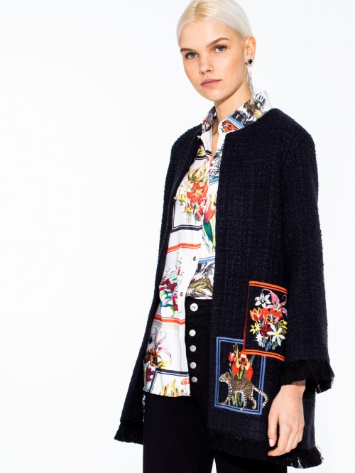JULIET EMBROIDERED COAT NAVY WINTER MADELAIN