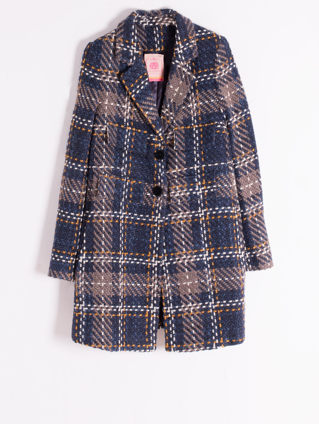 LUCIA COAT LUCCA NAVY CHECK