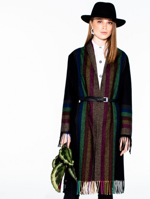 BROOKE COAT FRINGES STRIPES