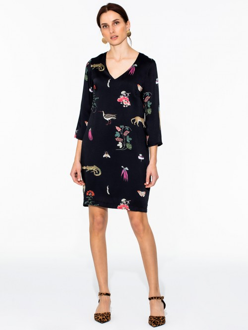 DORIS DRESS NIGHT GARDEN TWILL